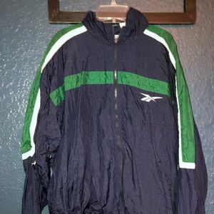 Classic Reebok windbreaker navy and green